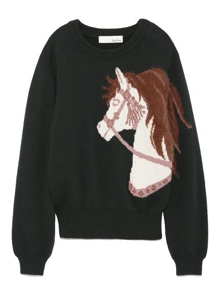 horse主題印花針織衫