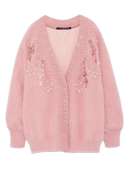 [L.B CANDY STOCK]珍珠寶石造型開襟衫