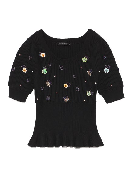 [L.B CANDY STOCK]甜美花朵針織衫
