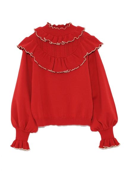 領口荷葉邊縮口針織上衣