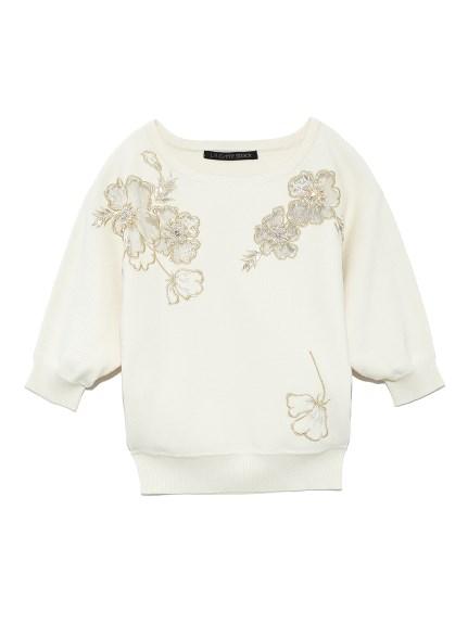 花卉刺繡五分袖針織上衣