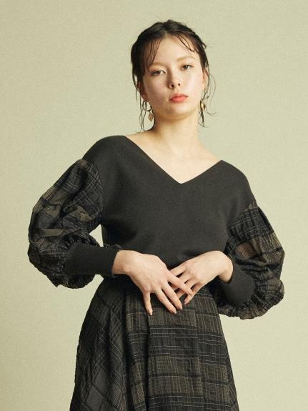 格紋蕾絲澎袖針織上衣
