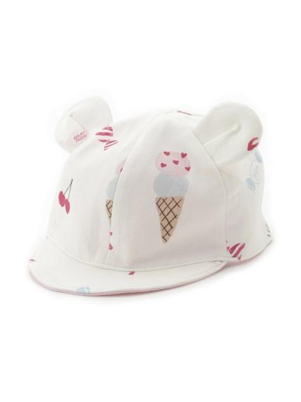 girls' favorite印花熊耳造型baby帽子