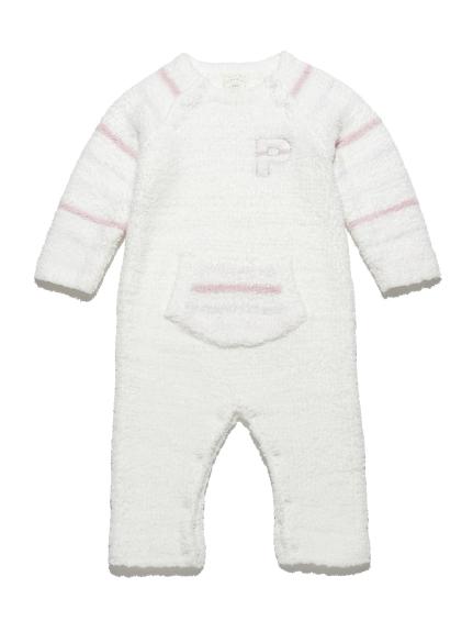 ' powder ' LOGO條紋baby連身衣