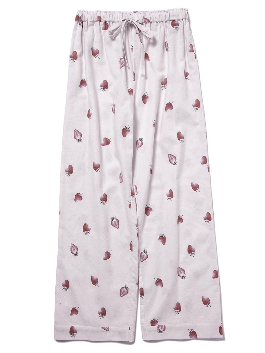 【JUNIOR】 【ONLINE限定】草莓印花法蘭絨長褲