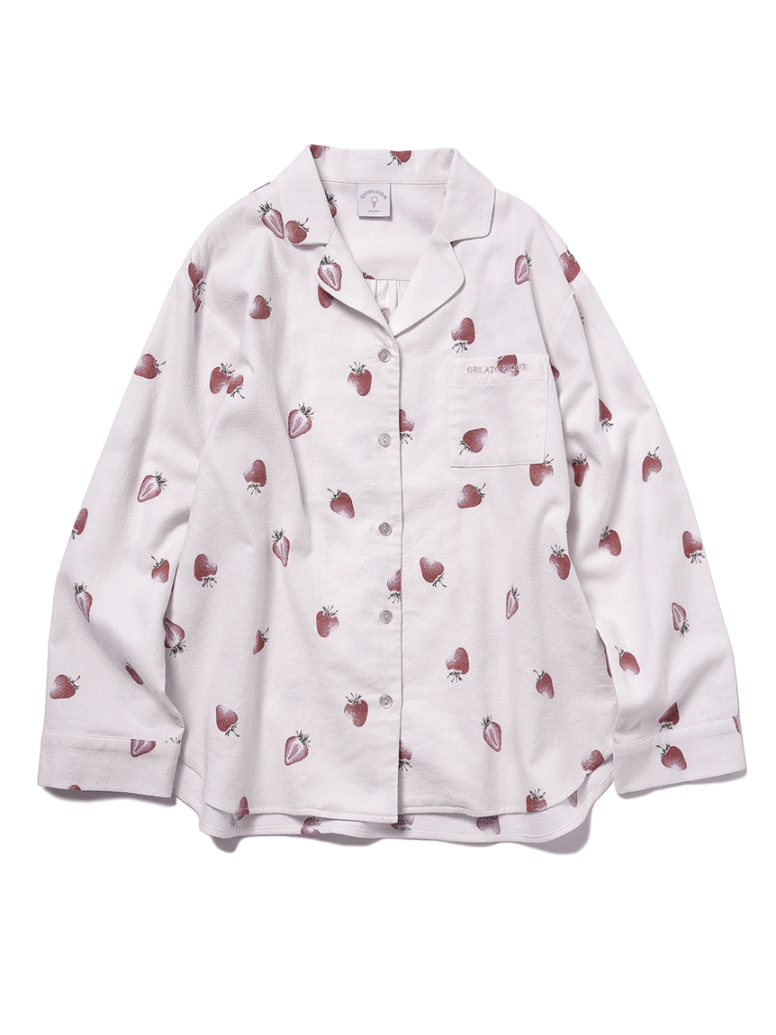 【JUNIOR】 【ONLINE限定】草莓印花法蘭絨襯衫