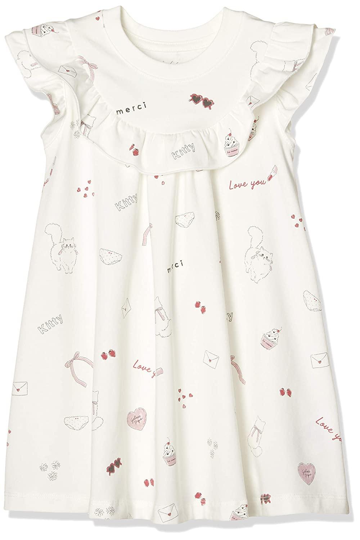 【KIDS】手繪印花荷葉邊洋裝