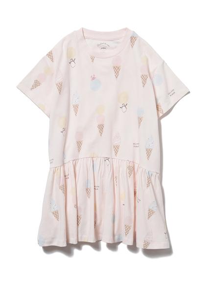 【KIDS】冰淇淋動物印花 涼感荷葉邊洋裝
