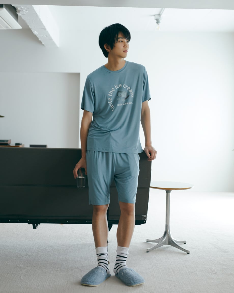 【HOMME】嫘縈文字T-Shirt