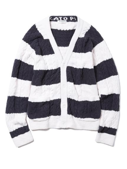【GELATO PIQUE HOMME】寬條紋麻花編織開襟衫