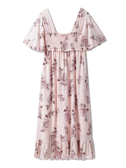 玫瑰花柄打褶連身裙