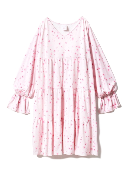【SAKURA FAIR】櫻花圖案層次洋裝