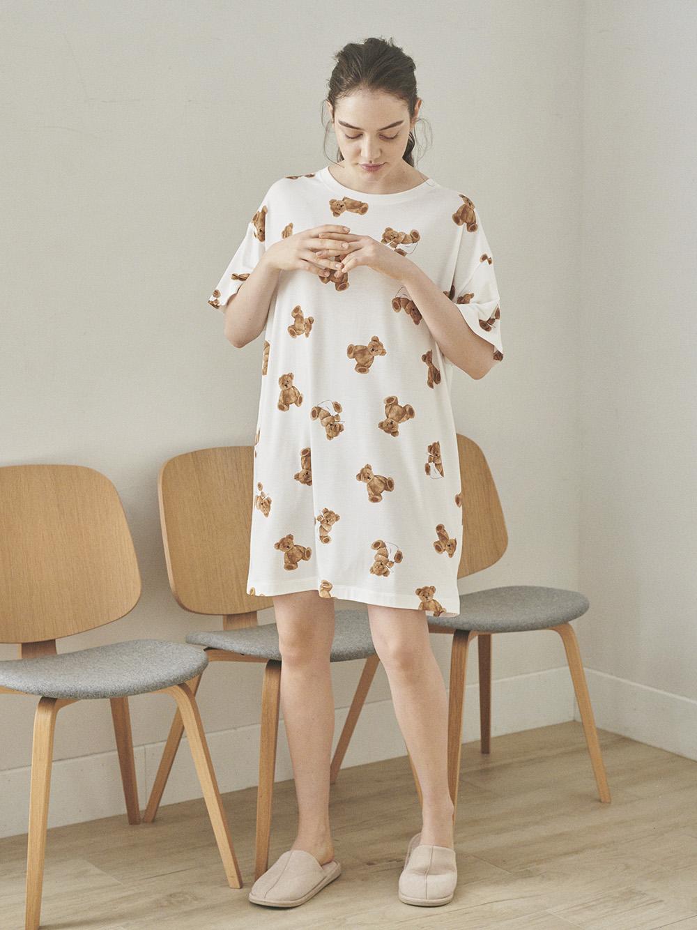 小熊圖案抗菌防臭短洋裝