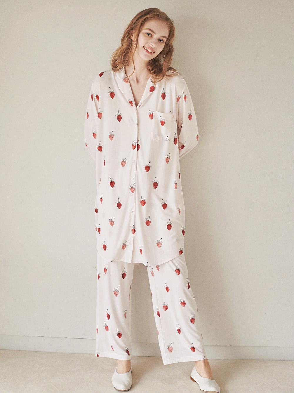 草莓印花襯衫洋裝