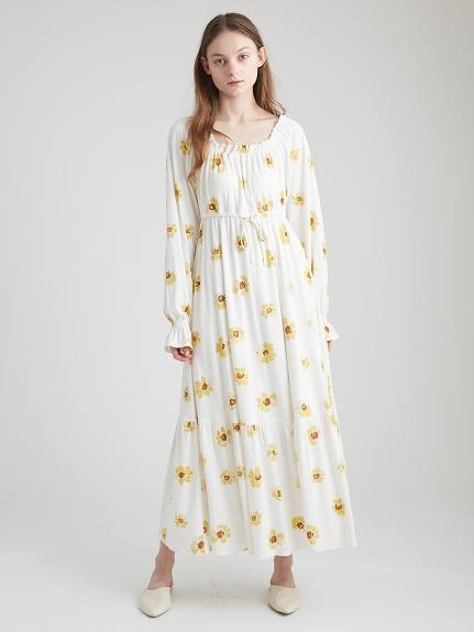 彩繪花朵長洋裝