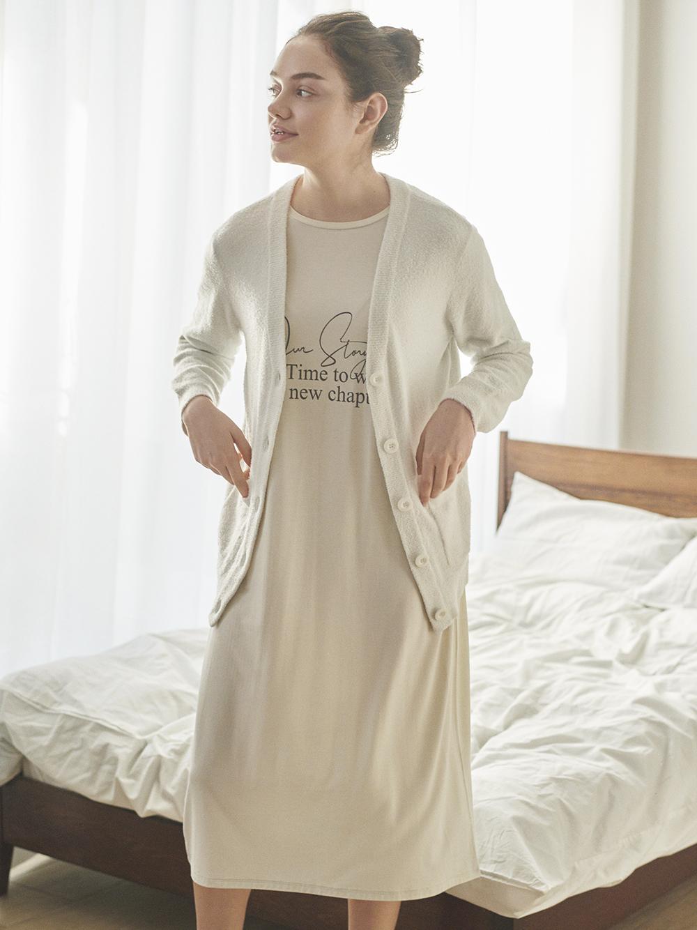 春季嫘縈文字長洋裝