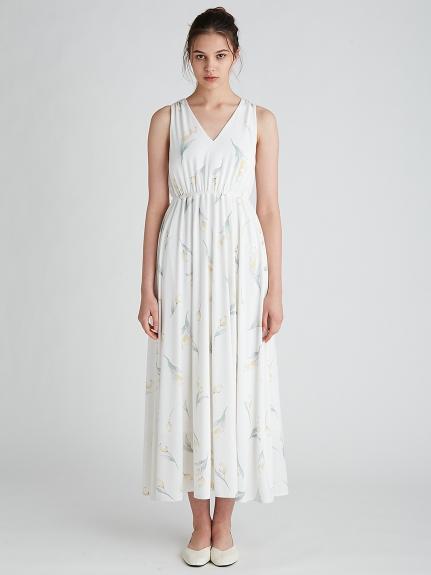 鬱金香印花罩杯式無袖連身裙