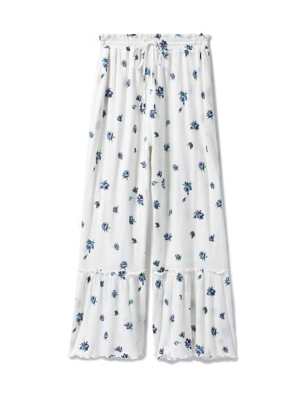 花柄印花打褶長褲