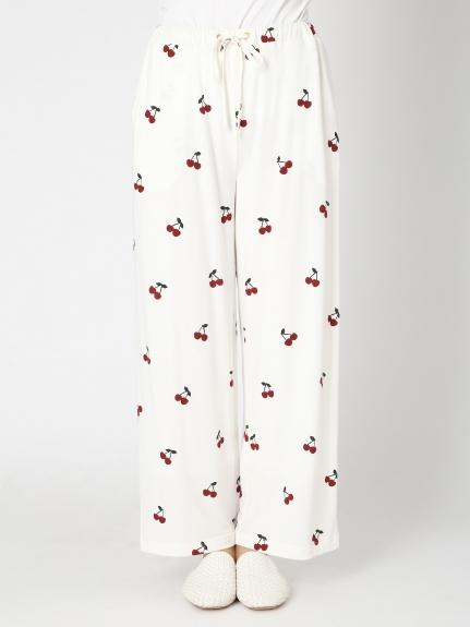 櫻桃圖案寬鬆長褲