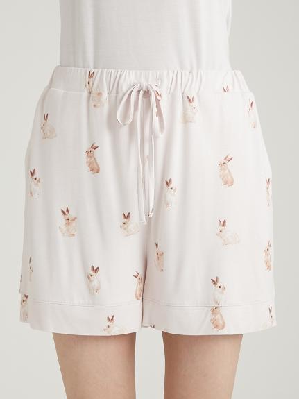 兔子印花嫘縈短褲