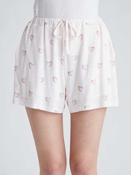 愛心印花嫘縈短褲