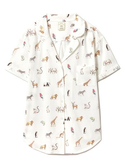 動物印花居家短袖襯衫