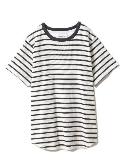 條紋華夫棉T-shirt