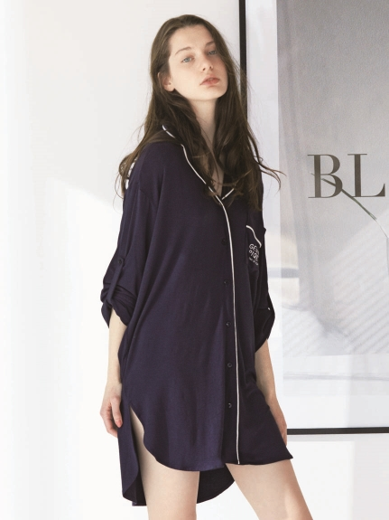 絲綢混紡長版襯衫