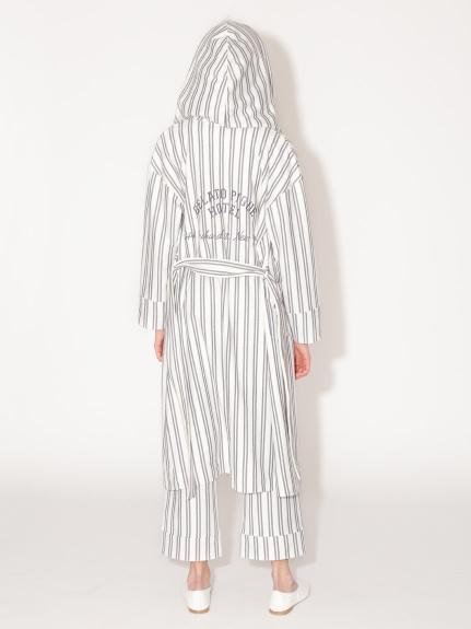 條紋刺繡字母附綁帶長袍