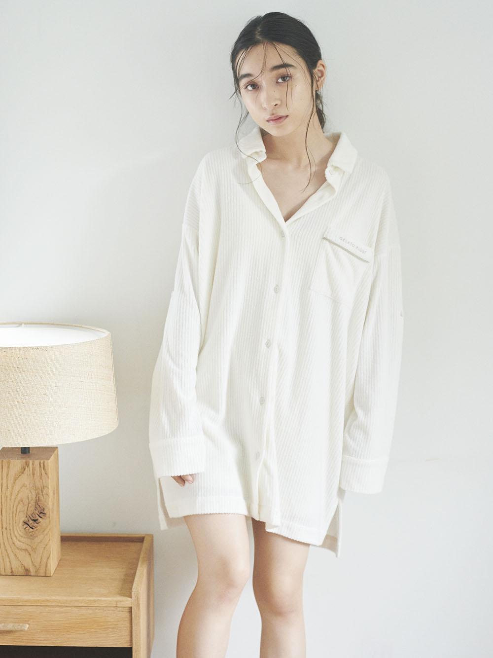 絨毛羅紋襯衫洋裝