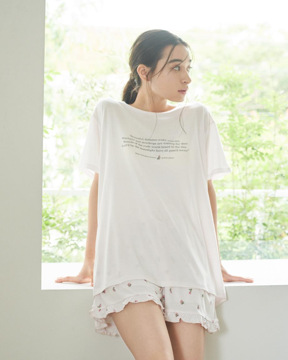 小玫瑰花文字T-Shirt