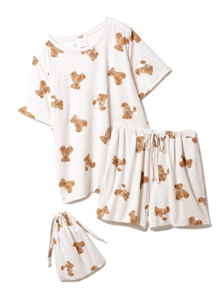 【ONLINE限定】小熊圖案抗菌防臭T-Shirt&短褲&束口袋SET