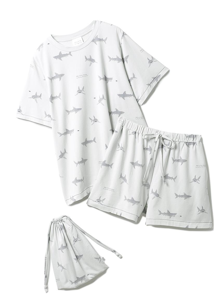 【ONLINE限定】鯊魚印花 T-Shirt&短褲&束口袋SET