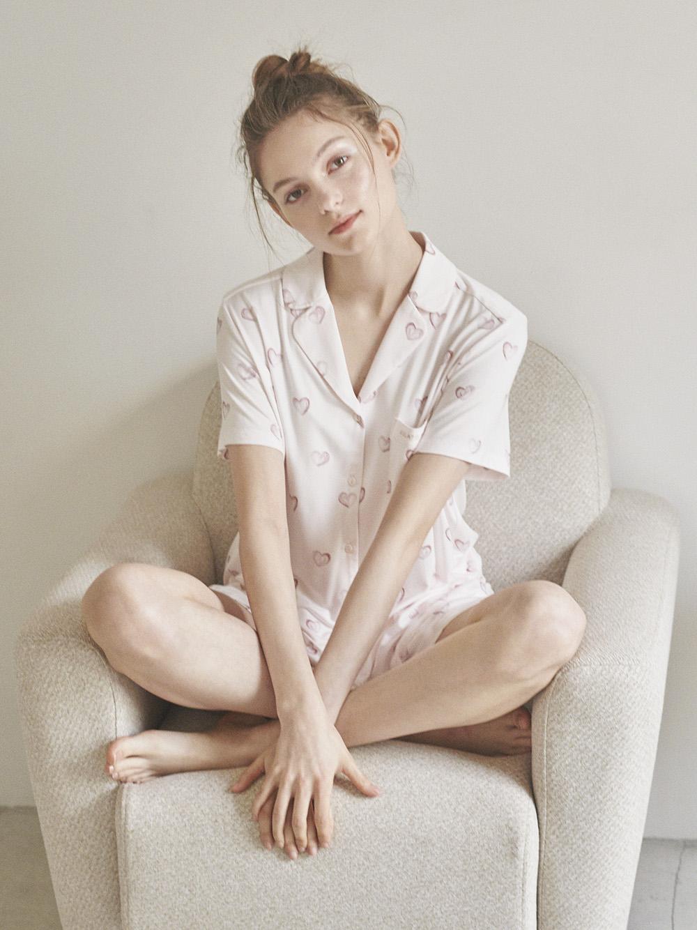 愛心印花嫘縈襯衫