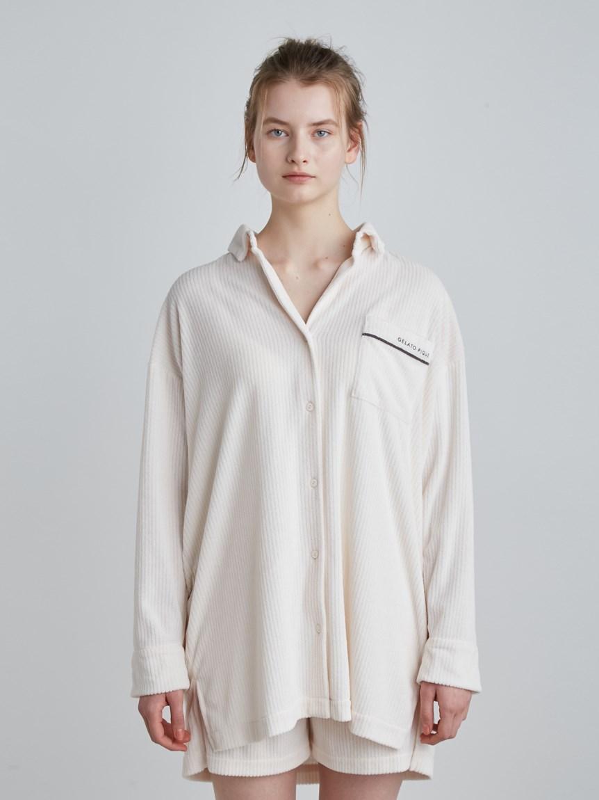 短絨羅紋長袖襯衫
