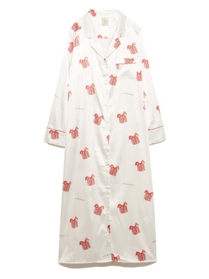 禮物盒印花緞面連身裙