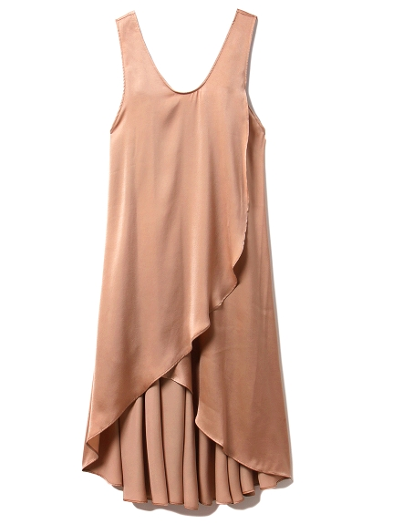 夏日緞面開衩連身裙