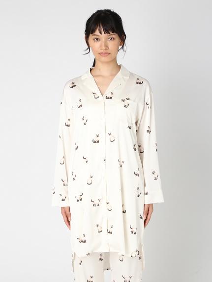 暹羅貓印花緞面襯衫洋裝