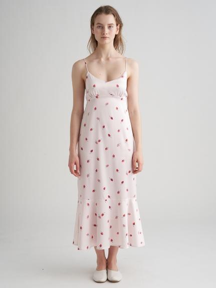 草莓圖案緞面細肩帶洋裝