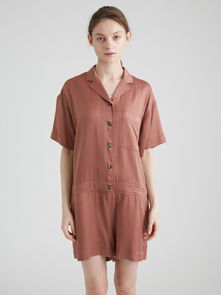 緞面襯衫連身短褲