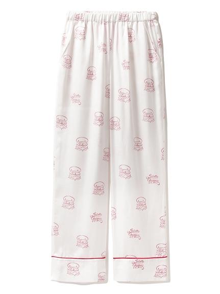 【Suki Waterhouse】漢堡印花緞面長褲