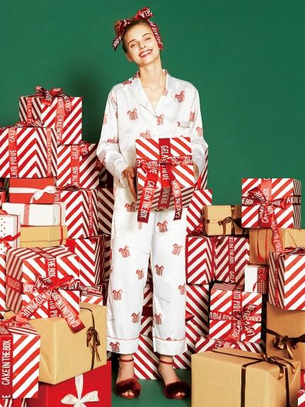 禮物盒印花緞面長褲