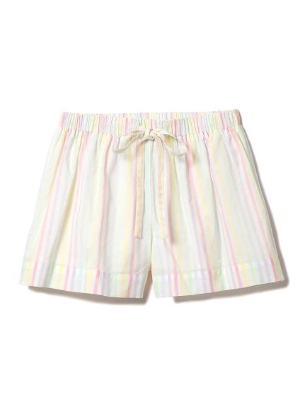 糖果色直條紋居家短褲