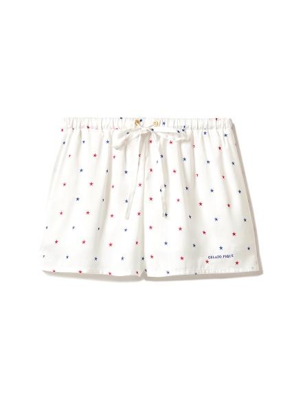 星星印花緞面短褲