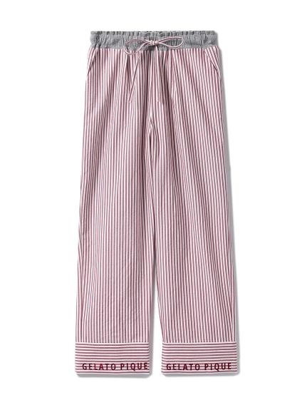 棉質細條紋長褲