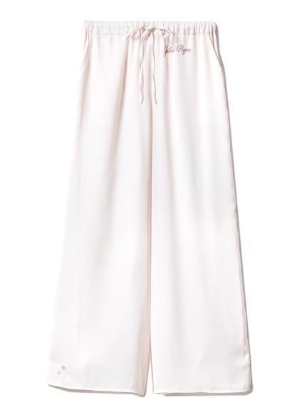 【SAKURA FAIR】櫻花刺繡緞面長褲