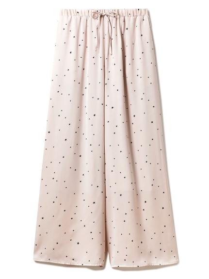 星星圖樣緞面長褲