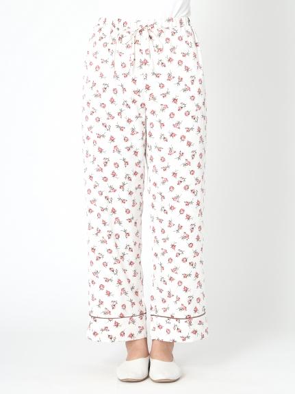 小玫瑰花緞面長褲