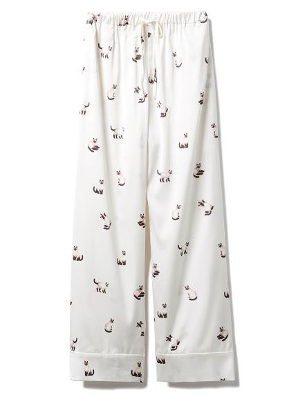 暹羅貓印花緞面長褲