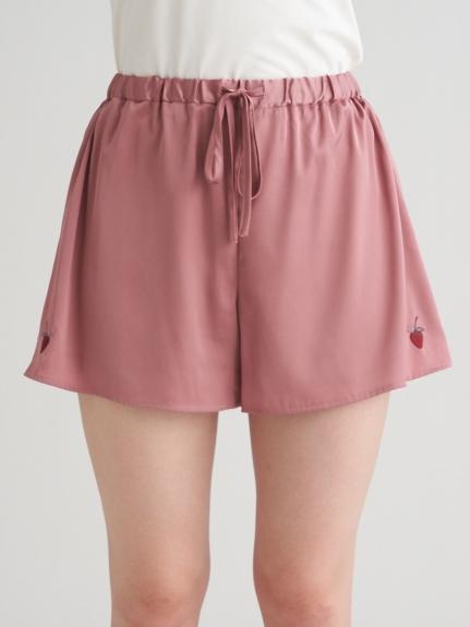 草莓刺繡緞面短褲